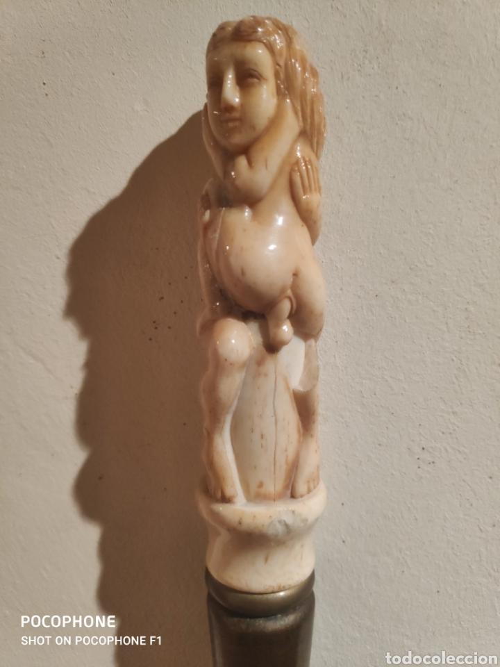 Antigüedades: Antiguo bastón erótico en hueso vara en madera - Foto 9 - 253995645