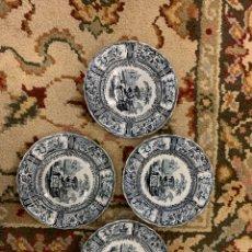 Antigüedades: CUATRO PLATOS SARGADELOS MODELO GÓNDOLA. Lote 254015630