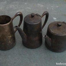 Antigüedades: JUEGO DE CAFE ANTIGUO PLATEADO FRANCES MEDIDAS APROXIMADAS: 16 X 10 X 8. Lote 254086735