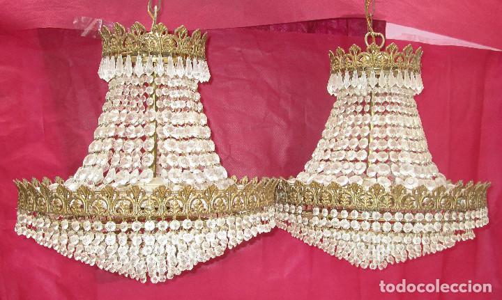 BESTIAL PAREJA DE LAMPARAS IMPERIO CLASICAS DE SACO, BRONCE Y CRISTAL (Antigüedades - Iluminación - Lámparas Antiguas)