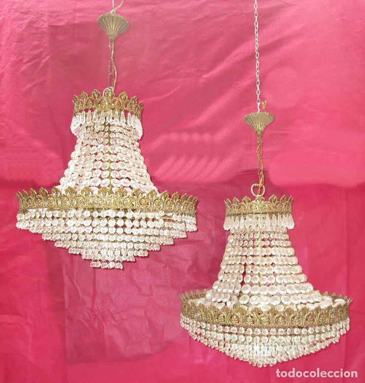 Antigüedades: BESTIAL PAREJA DE LAMPARAS IMPERIO CLASICAS DE SACO, BRONCE Y CRISTAL - Foto 2 - 254098135