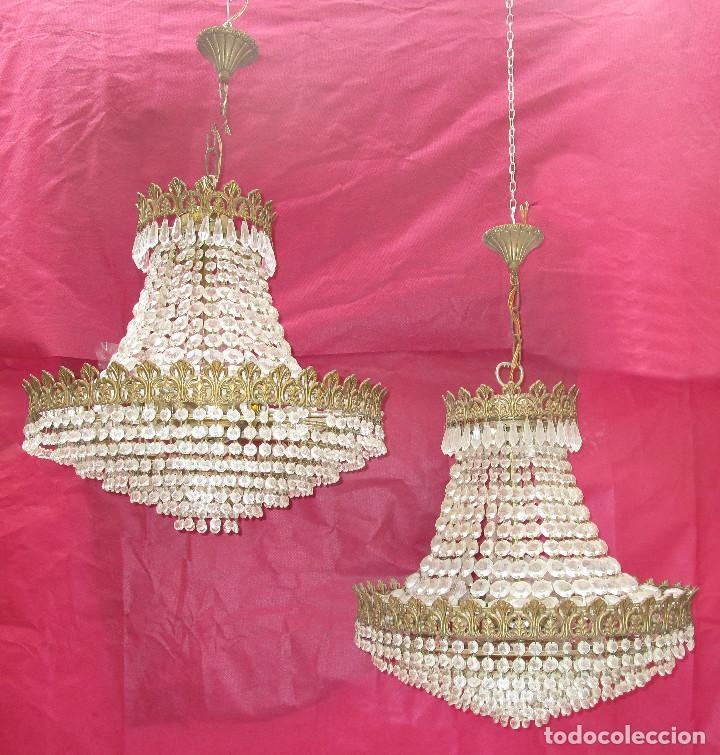 Antigüedades: BESTIAL PAREJA DE LAMPARAS IMPERIO CLASICAS DE SACO, BRONCE Y CRISTAL - Foto 3 - 254098135