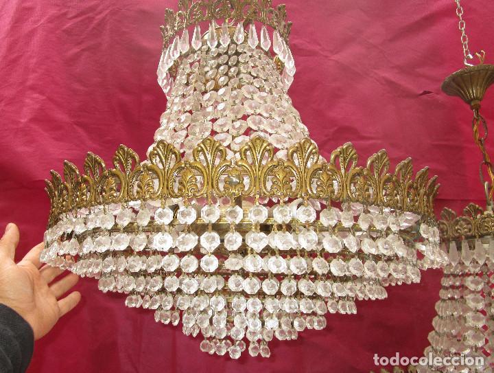 Antigüedades: BESTIAL PAREJA DE LAMPARAS IMPERIO CLASICAS DE SACO, BRONCE Y CRISTAL - Foto 4 - 254098135