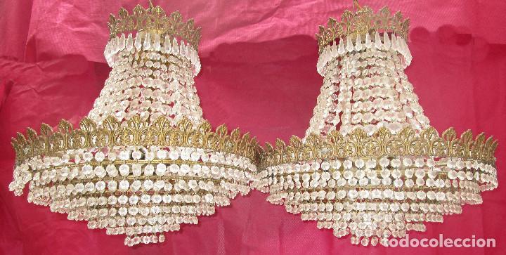 Antigüedades: BESTIAL PAREJA DE LAMPARAS IMPERIO CLASICAS DE SACO, BRONCE Y CRISTAL - Foto 5 - 254098135