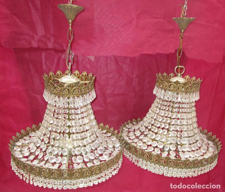 Antigüedades: BESTIAL PAREJA DE LAMPARAS IMPERIO CLASICAS DE SACO, BRONCE Y CRISTAL - Foto 6 - 254098135