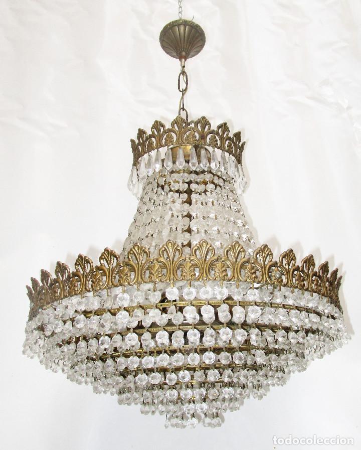Antigüedades: BESTIAL PAREJA DE LAMPARAS IMPERIO CLASICAS DE SACO, BRONCE Y CRISTAL - Foto 7 - 254098135