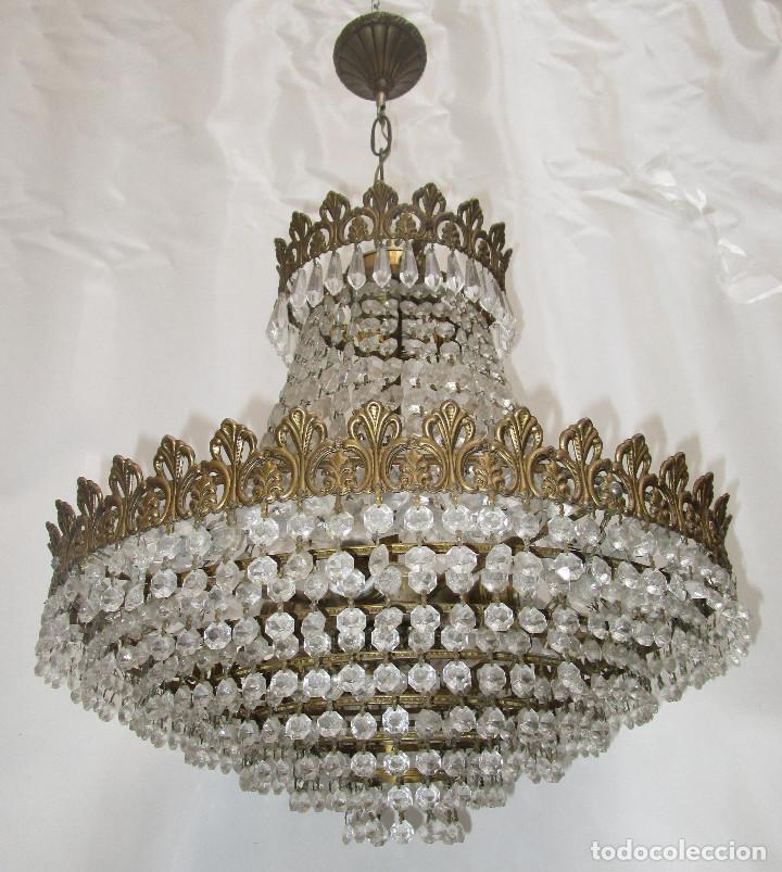 Antigüedades: BESTIAL PAREJA DE LAMPARAS IMPERIO CLASICAS DE SACO, BRONCE Y CRISTAL - Foto 8 - 254098135