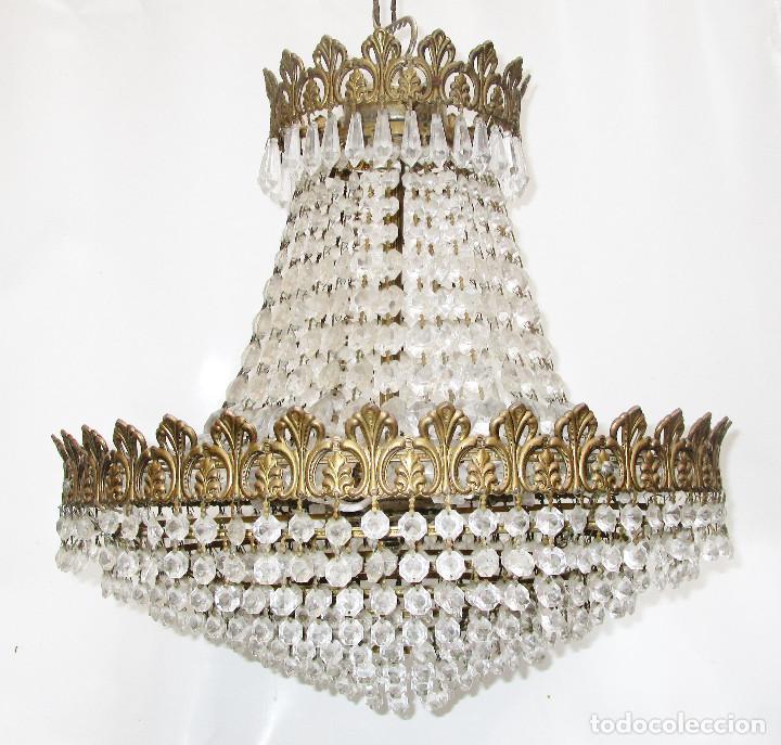 Antigüedades: BESTIAL PAREJA DE LAMPARAS IMPERIO CLASICAS DE SACO, BRONCE Y CRISTAL - Foto 9 - 254098135