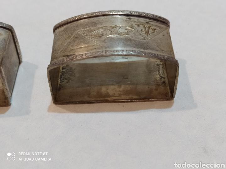 Antigüedades: Antigua pareja de servilleteros de plata de ley siglo XIX - Foto 5 - 254190155
