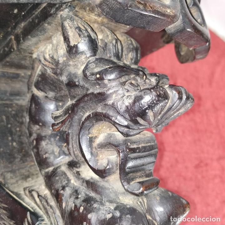 Antigüedades: PEANA DE PARED. MADERA TALLADA Y TEÑIDA. ESPAÑA. SIGLO XIX - Foto 9 - 254199230