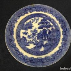 Antigüedades: PLATO LLANO CON ESCENAS CHINESCAS EN AZUL COBALTO. WILLOW. INGLATERRA. DIÁMETRO: 25 CTMS.. Lote 254230685