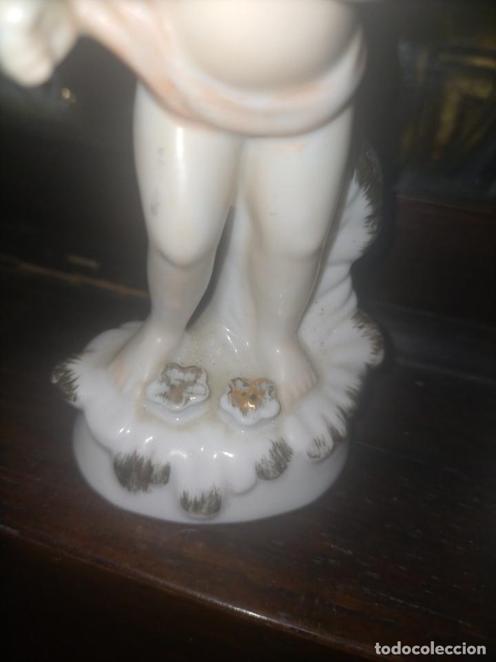 Antigüedades: pareja figuras niños porcelanas angelitos o similares para capilla virgen ceramica y filos oro 12 cm - Foto 11 - 254256940