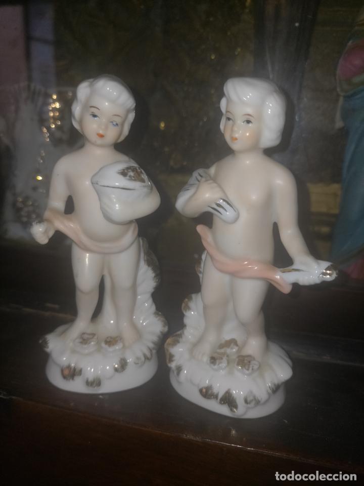 Antigüedades: pareja figuras niños porcelanas angelitos o similares para capilla virgen ceramica y filos oro 12 cm - Foto 13 - 254256940