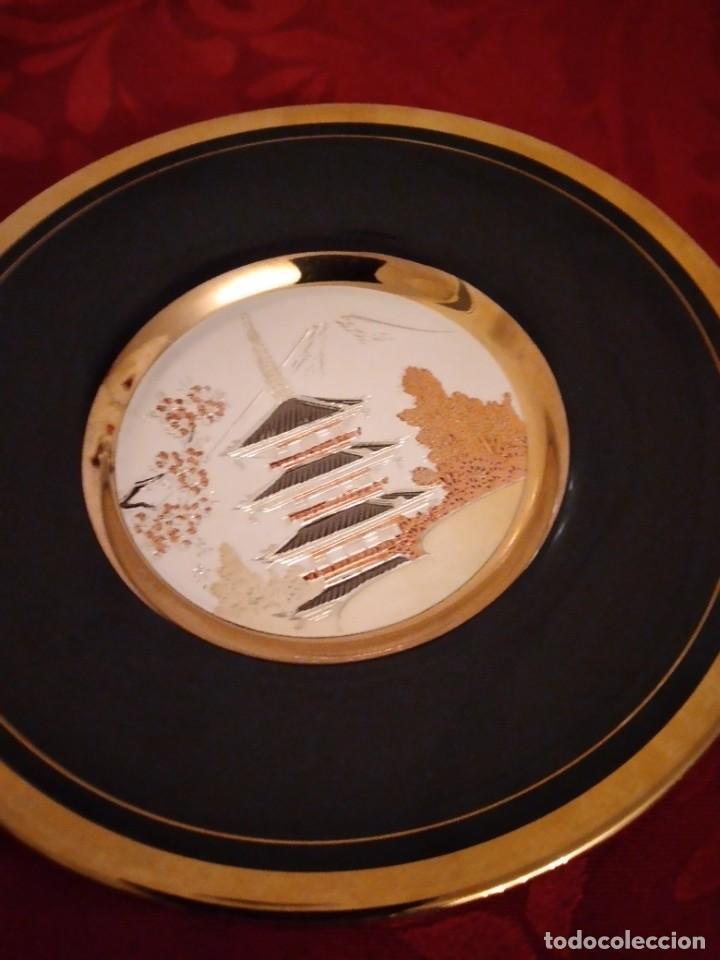 Antigüedades: Bonito plato en porcelana japonesa en técnica de grabado CHOKIN,1983 - Foto 3 - 254308510