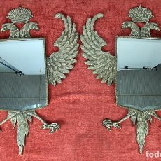 Antigüedades: PAREJA DE ESPEJOS. ÁGUILA BICÉFALA CORONADA. METAL PLATEADO. SIGLO XX.. Lote 254353180