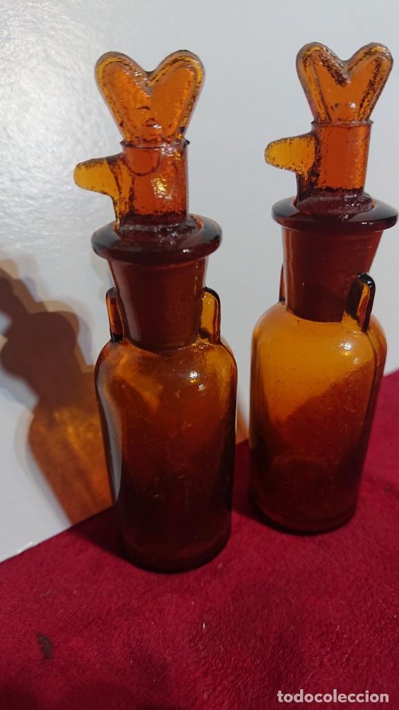 BOTELLITAS DE FARMACIA PARA ESENCIAS DE VIDRIO COLOR AMBAR - (Antigüedades - Cristal y Vidrio - Farmacia )