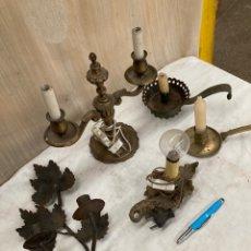 Antigüedades: LOTE DE CANDELABROS Y PALMATORIAS!BRONCE Y CHAPA!. Lote 254361345