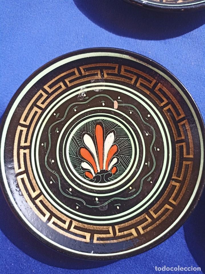 Antigüedades: Hecho a mano en Grecia, Platos decorativos de terracota (4 piezas), Decoración de Grecia,vintage - Foto 3 - 254372870
