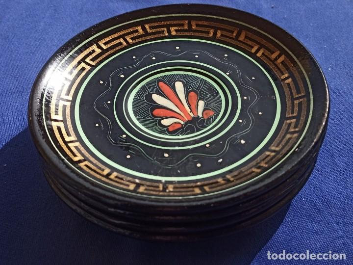 Antigüedades: Hecho a mano en Grecia, Platos decorativos de terracota (4 piezas), Decoración de Grecia,vintage - Foto 4 - 254372870