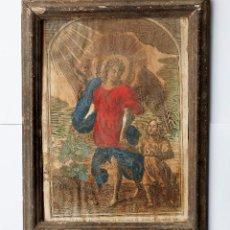 Antigüedades: MARCO ANTIGUO CON GRABADO. EXTERIOR: 38X29 CM. LUZ: 24X33 CM.. Lote 254374370