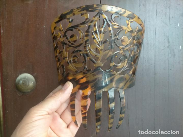 Antigüedades: ANTIGUA Y PRECIOSA PEINETA PARA MANTILLA ESPAÑOLA 18,8 X 16 CM - Foto 14 - 254385810