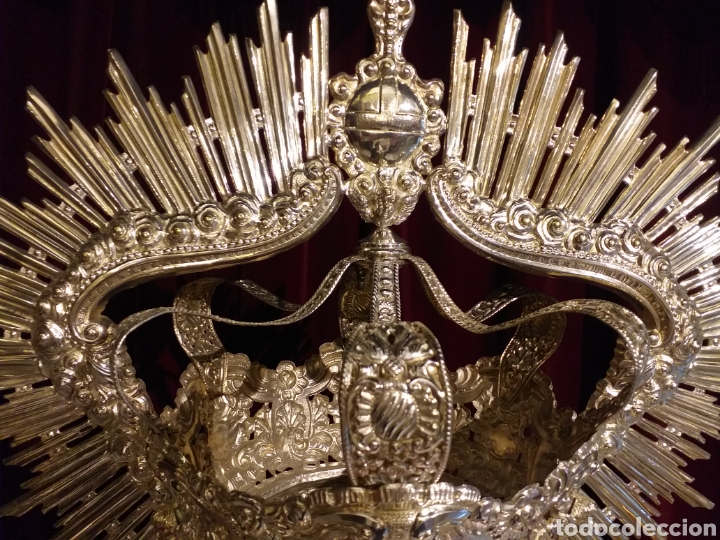 Antigüedades: IMPRESIONANTE CORONA LABRADA PARA IMAGEN TAMAÑO REAL DE PROCESION - Foto 12 - 54688402
