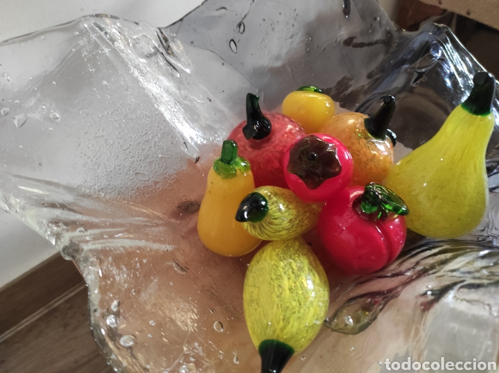 Antigüedades: Espectacular centro de mesa, con fruta y verduras, todas en cristal de Murano. Pieza única. - Foto 4 - 254430255