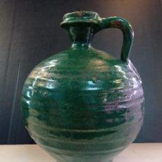 Antigüedades: TRIANA, ANTIGUA PERULA ACEITERA SIGLO XIX CERÁMICA VIDRIADA VERDE OSCURO. Lote 254500725