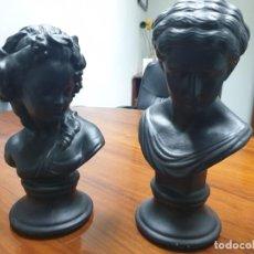 Antiguidades: 2 X BUSTOS ESCAYOLA. TIPO CLASICO ROMANO 33X22 CMS. Lote 254534280