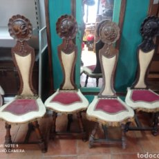 Antigüedades: JUEGO DE 4 SILLAS TALLADAS A MANO. Lote 254540465
