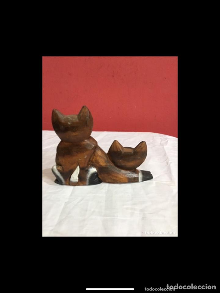 Antigüedades: Lote de 5 figuras antiguas gatos de madera pintados . Decoración antigua. Ver fotos - Foto 6 - 254549950