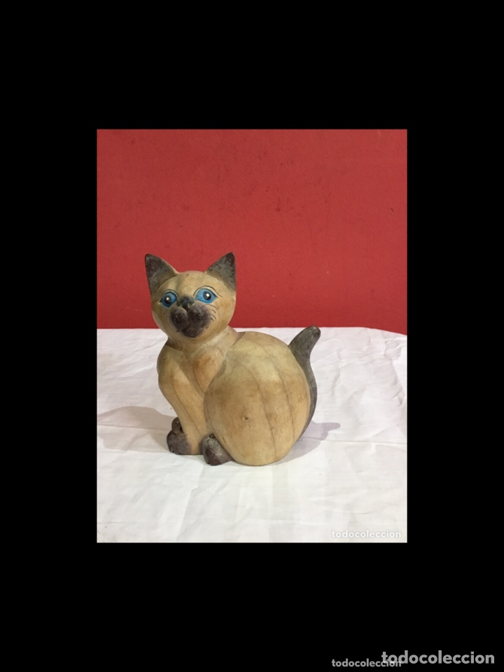 Antigüedades: Lote de 5 figuras antiguas gatos de madera pintados . Decoración antigua. Ver fotos - Foto 7 - 254549950