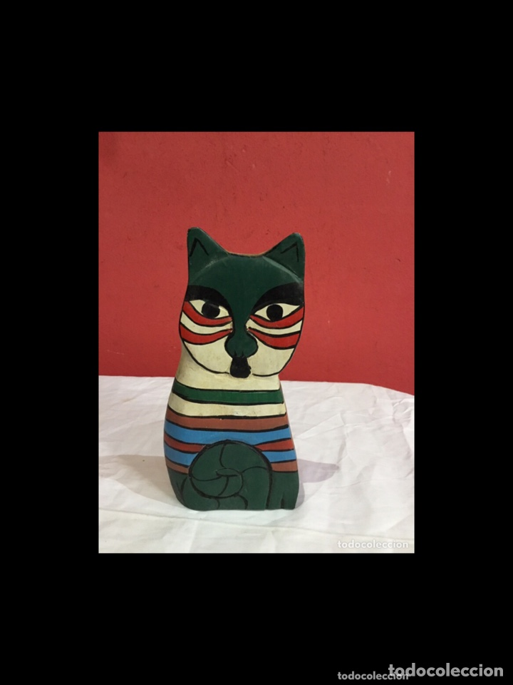 Antigüedades: Lote de 5 figuras antiguas gatos de madera pintados . Decoración antigua. Ver fotos - Foto 13 - 254549950