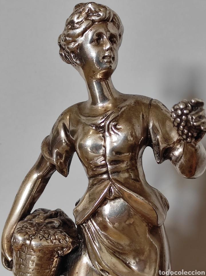 Antigüedades: Figura de dama bañada en plata, con base de mármol 34cm - Foto 4 - 254564320