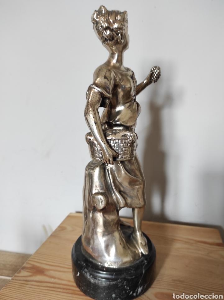 Antigüedades: Figura de dama bañada en plata, con base de mármol 34cm - Foto 6 - 254564320