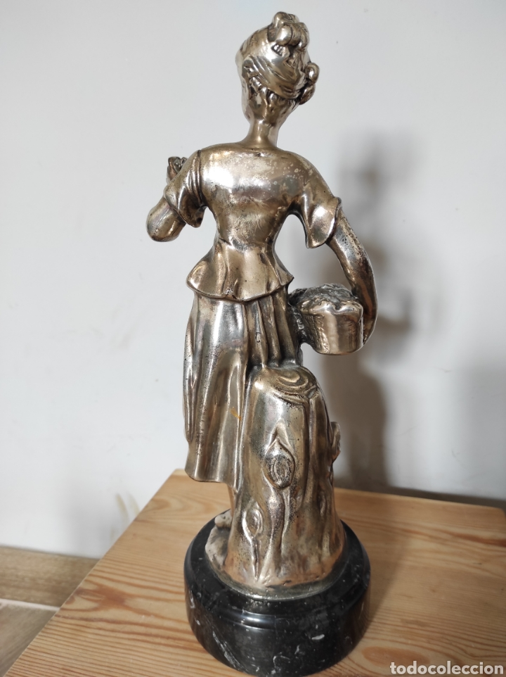 Antigüedades: Figura de dama bañada en plata, con base de mármol 34cm - Foto 7 - 254564320