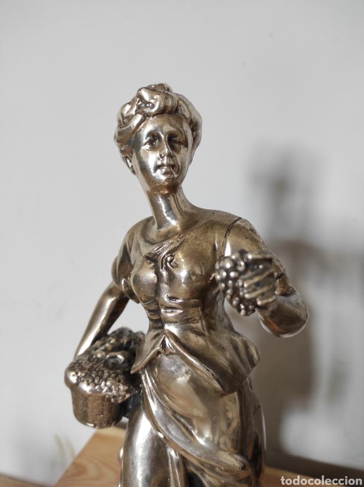 Antigüedades: Figura de dama bañada en plata, con base de mármol 34cm - Foto 9 - 254564320
