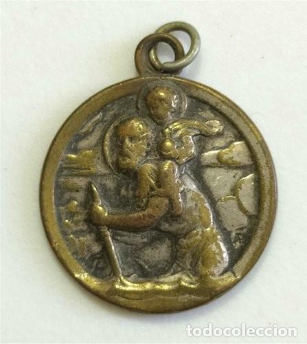 MEDALLA RELIGIOSA DE SAN CRISTÓBAL Y VIRGEN DE LOURDES (Antigüedades - Religiosas - Medallas Antiguas)