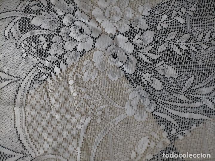 Antigüedades: GRAN ANTIGUA VINTAGE VISILLO ENCAJE CALADO 214X121 CORTINA PATA . BUEN ESTADO - Foto 8 - 254604975
