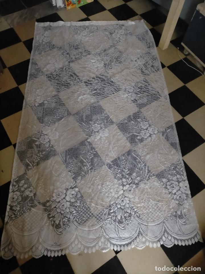 GRAN ANTIGUA VINTAGE VISILLO ENCAJE CALADO 214X121 CORTINA PATA . BUEN ESTADO (Antigüedades - Hogar y Decoración - Cortinas Antiguas)