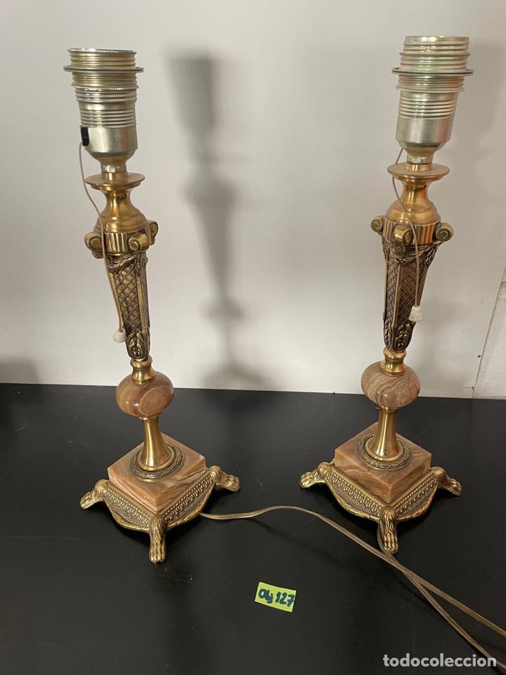 PAREJA DE LAMPARAS DE MESA EN BRONCE Y MARMOL (Antigüedades - Iluminación - Lámparas Antiguas)