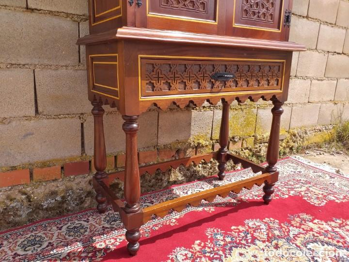 Antigüedades: Bargueño antiguo moderno estilo mudéjar árabe. Mueble papelera arquimesa estilo español neomudéjar. - Foto 3 - 254640775
