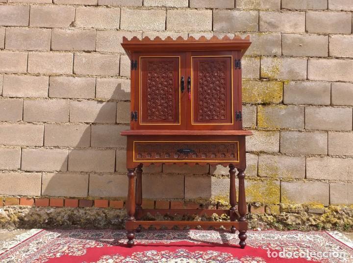 Antigüedades: Bargueño antiguo moderno estilo mudéjar árabe. Mueble papelera arquimesa estilo español neomudéjar. - Foto 4 - 254640775