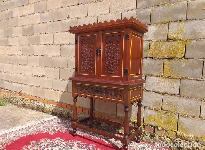 Antigüedades: Bargueño antiguo moderno estilo mudéjar árabe. Mueble papelera arquimesa estilo español neomudéjar. - Foto 6 - 254640775