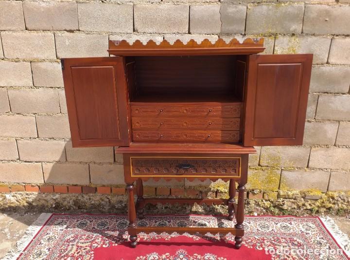 Antigüedades: Bargueño antiguo moderno estilo mudéjar árabe. Mueble papelera arquimesa estilo español neomudéjar. - Foto 11 - 254640775