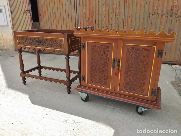 Antigüedades: Bargueño antiguo moderno estilo mudéjar árabe. Mueble papelera arquimesa estilo español neomudéjar. - Foto 15 - 254640775