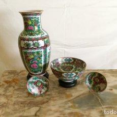 Antigüedades: JARRÓN CHINO Y 12 CUENCOS. Lote 254651400