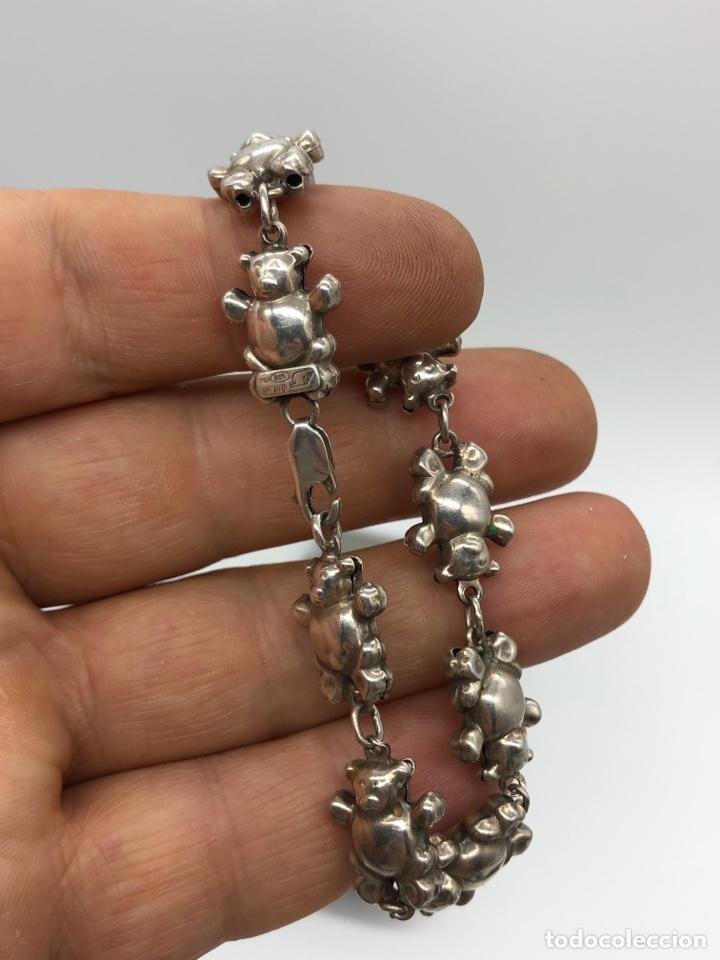 Antigüedades: Pulsera italiana de plata 925 figuras de ositos - Foto 3 - 254727420
