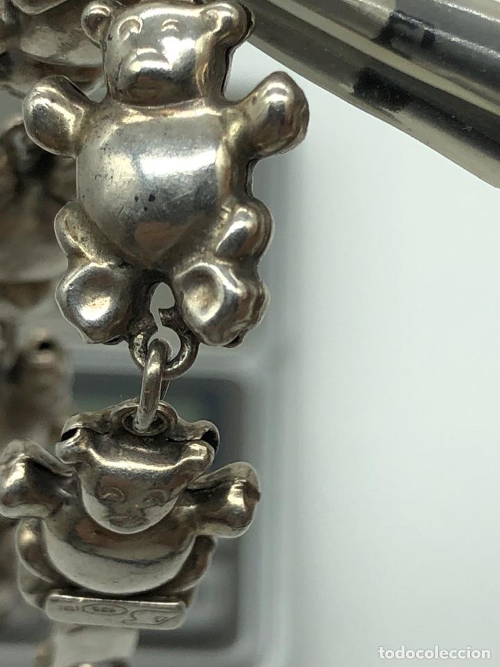 Antigüedades: Pulsera italiana de plata 925 figuras de ositos - Foto 5 - 254727420