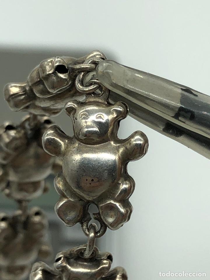 Antigüedades: Pulsera italiana de plata 925 figuras de ositos - Foto 6 - 254727420